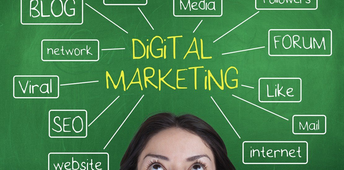 Digital marketing concept with blog, followers,media,forum,like,internet,website,seo, viral,network words over female head on chalkboard